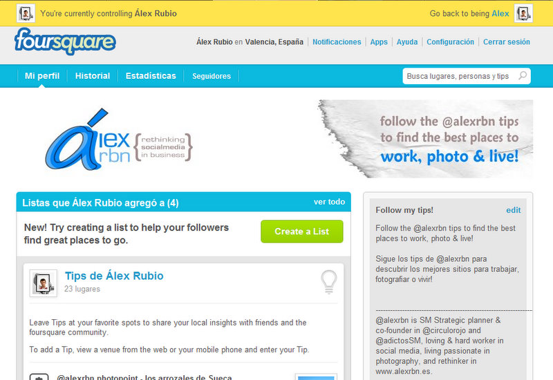 @alexrbn page on foursquare