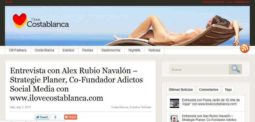 Entrevista de @alexrbn con www.ilovecostablanca.com